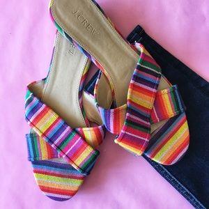 J.Crew Cora Cris Cross rainbow sandals